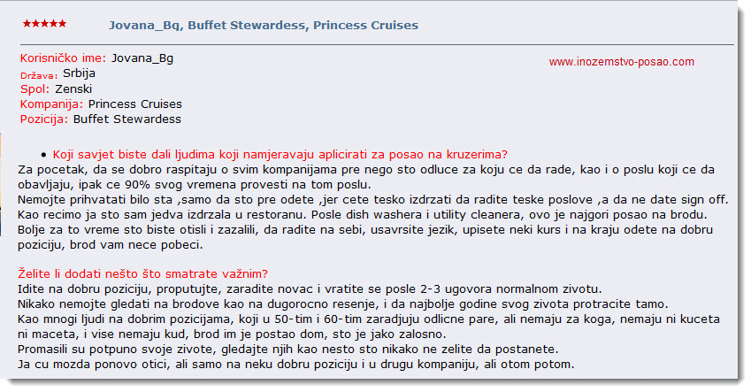 Buffet Stewardess Princess Cruises