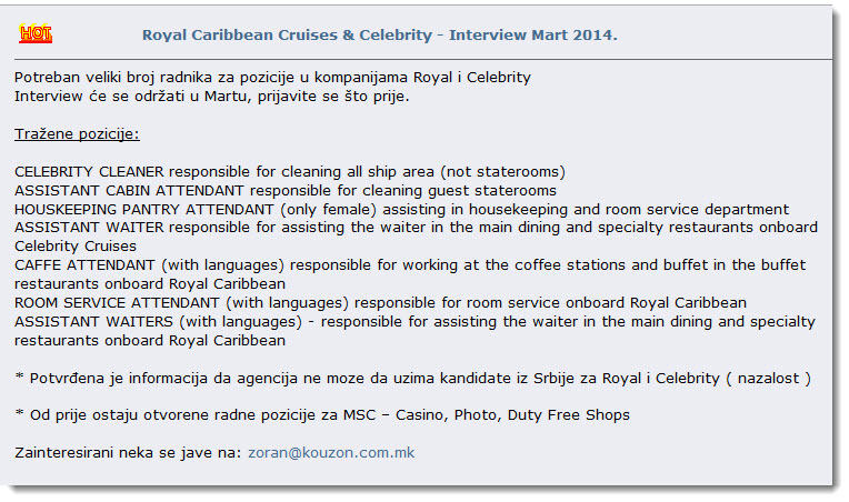 Royal Caribbean and Celebrity Cruises Job Interview